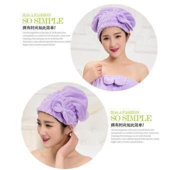 หมวกนาโน Microfiber ใช้คลุมหมักผม+ใช้คลุมอาบน้ำได้ สีม่วง