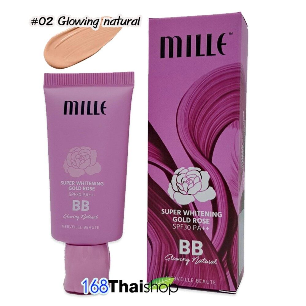 Mille Whitening Rose BB Cream SPF30 PA++ Glowing Natural 30g NO.2สำหรับผิวสองสี