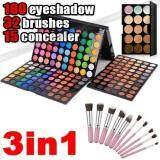 ราคา New 10Pcs Makeup Brush Set 180 Color Eyeshadow Palette 15 Concealer Kit ใหม่