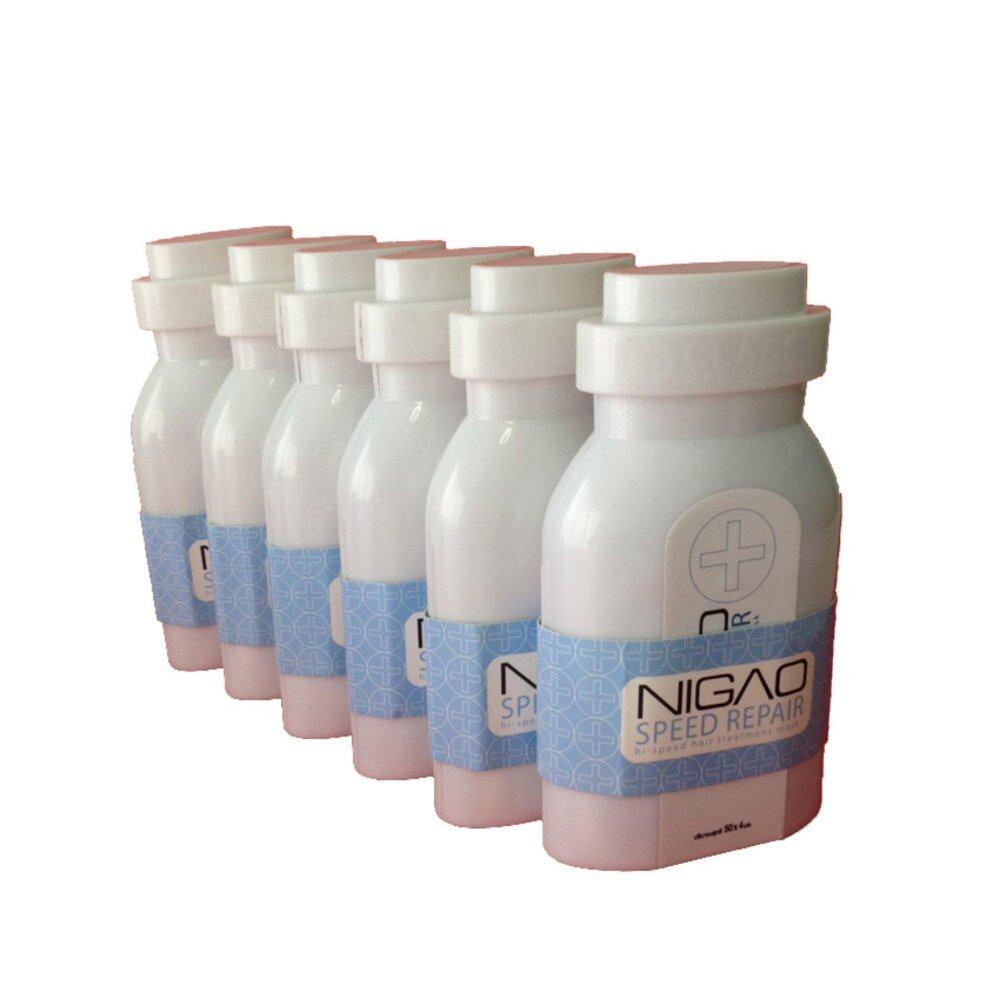 นิกาโอะ สปีด รีแพร์ 50x4มล.x 6 (ซ่อมแซมเส้นผมเร่งด่วน) (Nigao Speed Repair 50x4 ml.x 6 ) ทรีทเม้นท์ รีแพร์เส้นผมชนิด เข้มข้นพิเศษ ช่วยปรับผมแห้งเสียรุนแรงชี้ฟู กระด้าง ให้คืนสู่เส้นผมสวยสุขภาพดี ได้อย่างถาวร