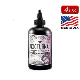 NOCTURNAL หมึกสักน็อคเทอร์นอล ขนาด 4 ออนซ์ หมึกสักลายซุปเปอร์แบล็ค สีสักลายสีดำสนิทซุปเปอร์แบล็ก สีสักนำเข้าจากประเทศอเมริกา American Jack RudyFranco Vescovi's Nocturnal Tattoo Ink Super Black (4OZ/120ML)