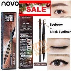Novo Eyebrow + Black Eyeliner ของแท้ 100 % (zaab Fashion) Seduce Eye Makeup 2 In 1 โนโว ดินสอเขียนคิ้ว + อายไลน์เนอร์ ด้านนึงเป็นดินสอเขียนคิ้วเนื้อดีติดทน กันน้ำเกลี่ยง่าย อีกด้านเป็นอายไลเนอร์เมจิกสีดำ เส้นเล็กเขียนง่าย กันน้ำแห้งไว.