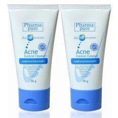 Pharmapure Acne Control Cleanser 50กรัม แพ็คคู่่ เจลล้างหน้า รักษาสิว ไม่แห้งตึง สำหรับ ผิวแห้ง แพ้ง่าย Pharmapure ถูก ใน กรุงเทพมหานคร