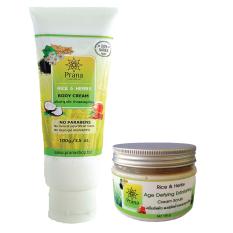 ผิวแห้ง หมองคล้ำ Prana เซตครีมบำรุงผิว และสครับขัดผิว Dry Skin Care Duo 2 ชิ้น เป็นต้นฉบับ