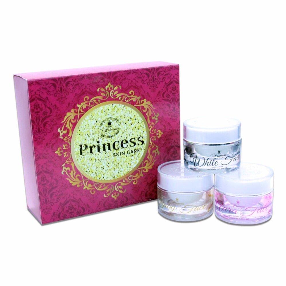 ลดแบบขาด  ทุน Princess Skin Care ครีม หน้าขาว/หน้าเงา/หน้าเด็ก แพ็คเกจใหม่ล่าสุด(1 เซ็ท 3 กระปุก) ครีมหน้าใสแบบเกาหลี