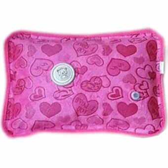 กระเป๋าน้ำร้อนไฟฟ้า ลายหัวใจ สีชมพู