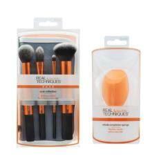 ราคา Real Techniques สีส้ม 4 ชิ้น Core Collection กระเป๋าเทา 1ชิ้น Miracle Complexion Sponge ฟองน้ำ 1 ลูก
