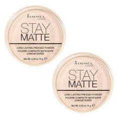 ขาย ซื้อ Rimmel Stay Matte Long Lasting Pressed Powder 001 Transparent แพคคู่2ตลับ
