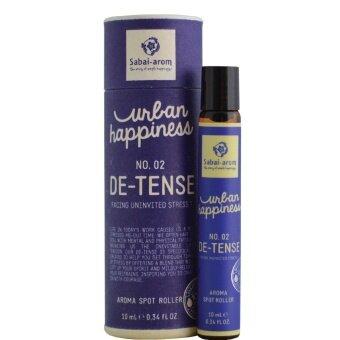 Sabai-Arom Urban Happiness De-Tense Aromatherapy Spot Roller 10 ml. สบายอารมณ์ เออเบิร์น แฮปปี้เนส ดี เทนส์ อะโรมาเทอราพี สปอท โรลเลอร์ น้ำมันหอมระเหยแบบลูกกลิ้ง กลิ่นดี เทนส์ 10 มล.
