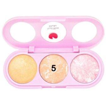 Sivanna Colors บลัชออนคุกกี้ 3 สี พร้อมกระจก+แปรง Peach Beam Blusher (#No.5)