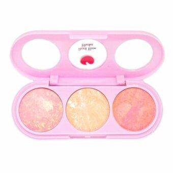 Sivanna Colors บลัชออนคุกกี้ 3 สี พร้อมกระจก+แปรง Peach Beam Blusher (#No.6)