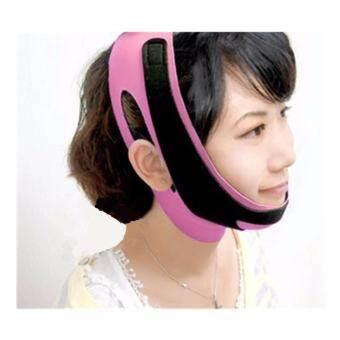 Small Target เข็มขัดรัดหน้าเรียวV Face Lifting Slimming Fit Maskแบบเต็มหน้า(สีชมพู)