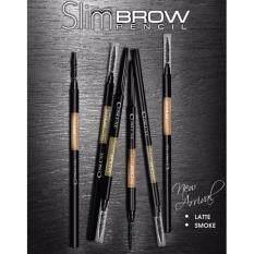 ราคา Set 2แท่ง แพคคู่ ☆Smoke สีน้ำตาลหม่นเขียว ดินสอเขียนคิ้วคอสลุค Cosluxe Slimbrow Pencil เนื้อฝุ่นอัดแข็งหัวแปรงเล็ก 1Mm Cosluxe ใหม่