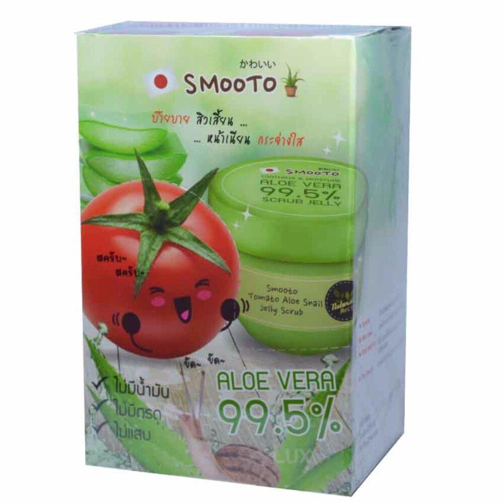 check ราคา Smooto Tomato Aloe Snail Jelly Scrub สมูทโตะ โทเมโท อโล สเนล เจลลี่ สครับ เพื่อผิวเนียนกระจ่างใส บรรจุ 4 ชิ้น (1 กล่อง) ดีจริง