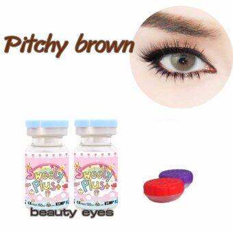 sweety plus คอนแทคเลนส์ แบบแฟชั่นสายตาปกติ รุ่น pitchy brown พร้อมตลับใส่เลนส์ 1 คู่