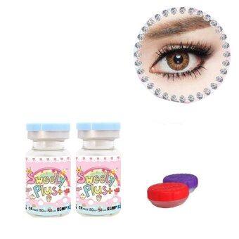 sweety plus คอนแทคเลนส์ แบบแฟชั่นสายตาปกติ รุ่น ribbon brown พร้อมตลับใส่ (สีน้ำตาล) 1 คู่