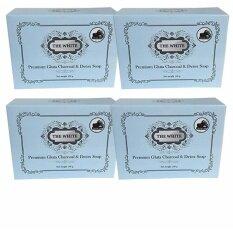 ส่วนลด The White Premium Gluta Charcoal Detox Soap สบู่ผิวขาวกลูต้า ชาโคล ดีทอกซ์โซป 4ก้อน The White
