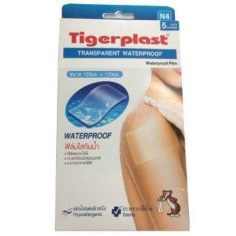 Tigerplast  transparent Waterproof watwerproof film ฟิล์มใสกันน้ำ ขนาด100มม.x120มม. รุ่นN4(24กล่อง) 1กล่อง บรรจุ5แผ่น