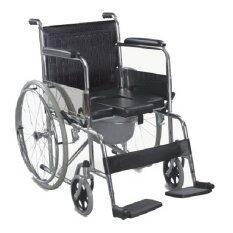 ซื้อ Triple รถเข็นผู้ป่วย นั่งถ่ายได้พับได้ โครงสร้างจากเหล็ก ล้อ 23 นิ้ว สีดำ รุ่น Fs609U Triple เป็นต้นฉบับ