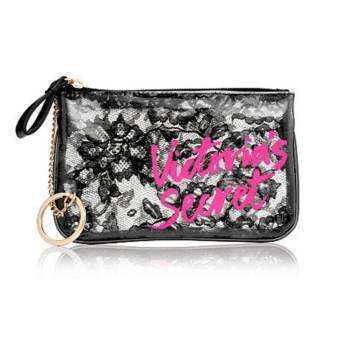 Victoria's Secret Beauty Rush Black Lace Coin Purse With Chain