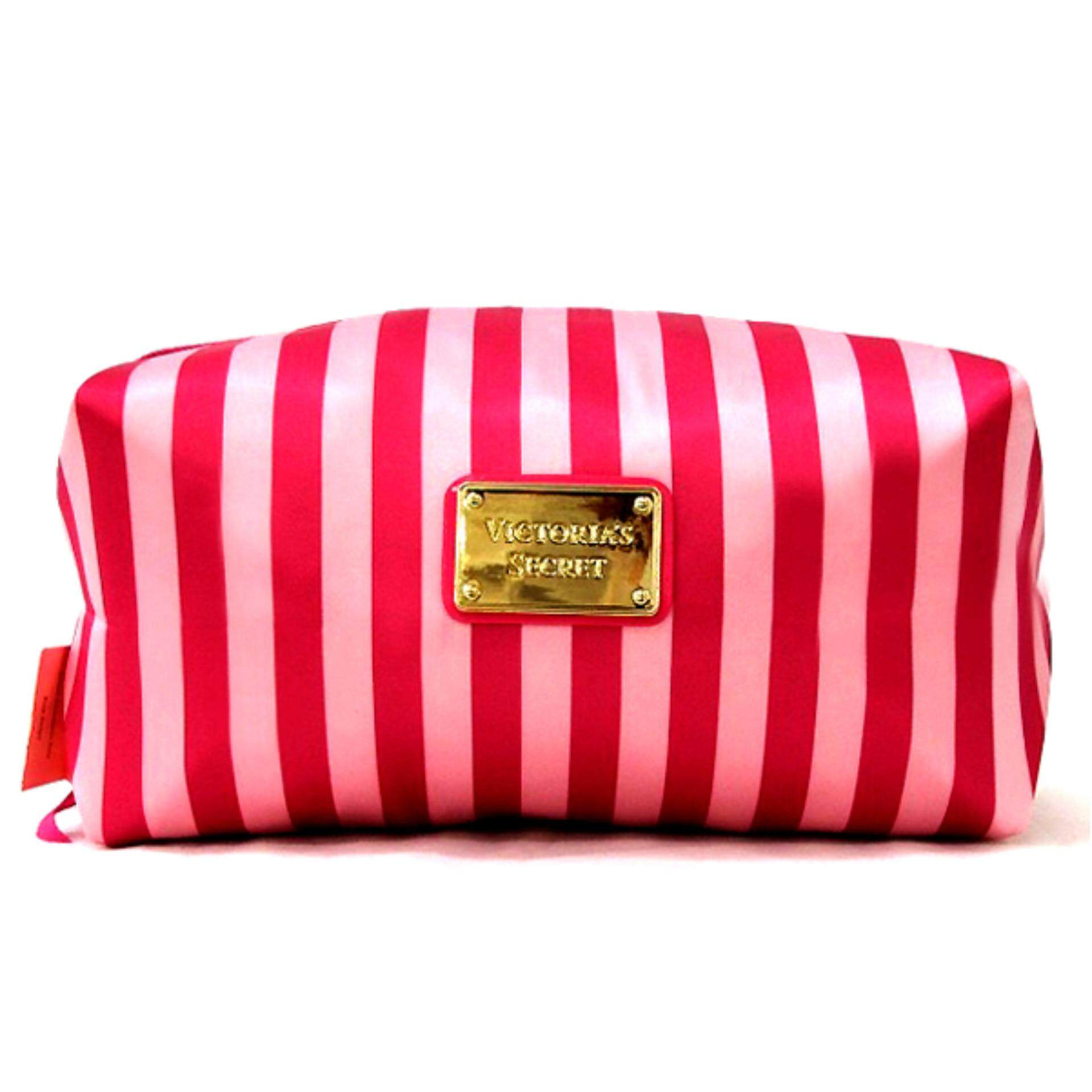 Victoria's Secret Signature Hot Pink Strip Cosmetic Pouch