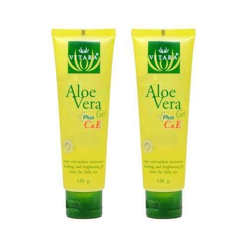 Vitara Aloe Vera Gel Plus C&E เจลว่านหางจระเข้ผสมวิตามินซีและอี 120 กรัม 2 หลอด