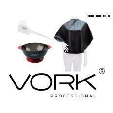 ขาย ซื้อ ออนไลน์ Vork ถ้วยย้อมสูญญากาศ ถ้วยดำใส ยางแดง แปรงย้อม ขนขาว หวี ขาว B333 Vork ผ้ารองสระ H002 1 ดำ