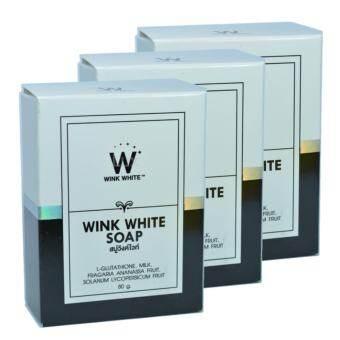 ซื้อที่ไหน Wink White Soap สบู่วิงค์ไวท์ ผสมกลูต้า น้ำนมแพะ ช่วยทำความสะอาดผิว บำรุงผิว ให้ขาวเนียนใส ขนาด 80g. (3 ก้อน)