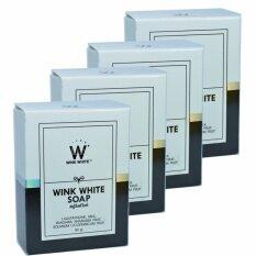 ซื้อ Wink White Soap สบู่วิงค์ไวท์ ผสมกลูต้า น้ำนมแพะ ช่วยทำความสะอาดผิว บำรุงผิว ให้ขาวเนียนใส ขนาด 80G 4 ก้อน ถูก ไทย
