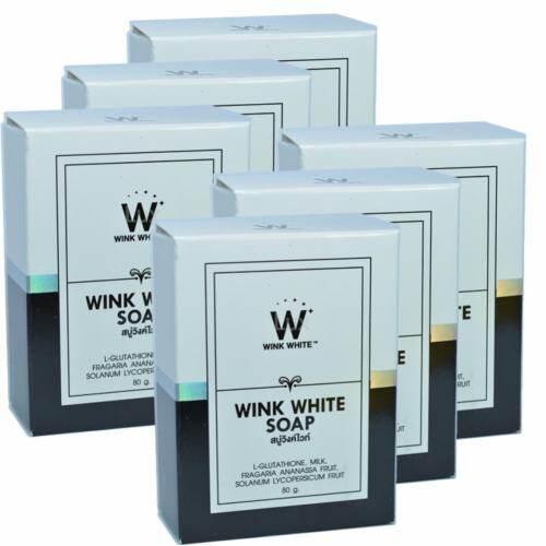 Wink White Soap สบู่วิงค์ไวท์ ผสมกลูต้า น้ำนมแพะ ช่วยทำความสะอาดผิว บำรุงผิว ให้ขาวเนียนใส ขนาด 80g. (6 ก้อน)