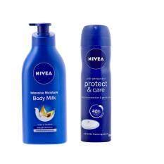 ราคา นีเวีย ชุดโลชั่นน้ำนมเข้มข้น และสเปรย์ระงับกลิ่นกาย Nivea Women Body Care Nourishing Set ใหม่ ถูก