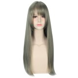 ขาย Women Harajuku Mixed Flax Green Color Long Straight Wigs With See Through Bangs Unbranded Generic ถูก