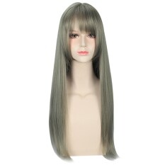 ขาย ซื้อ ออนไลน์ Women Harajuku Mixed Flax Green Color Long Straight Wigs With See Through Bangs