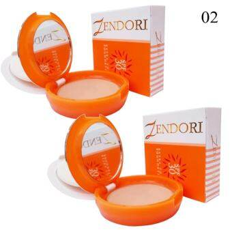 Zendori Extra Cover Foundation SPF 30 แป้งพัฟเซนโดริ ปกปิด คุมมัน กันแดด No.02 ผิวสองสี (2 ตลับ)-