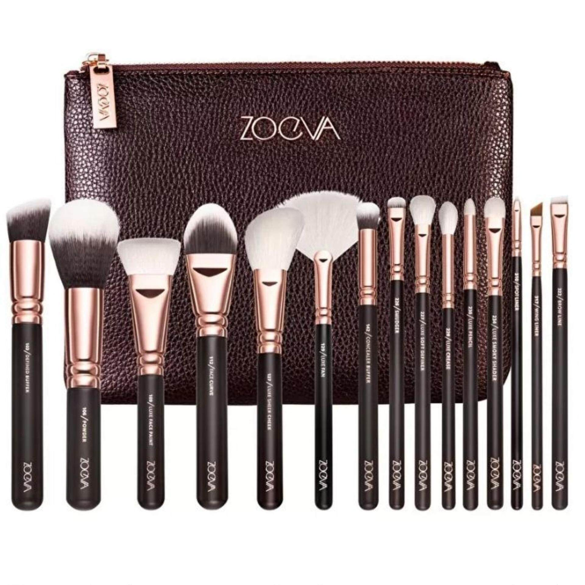 ZOEVA 15PCS Cosmetic Brushes Foundation Brush(น้ำตาล)1ชิ้น
