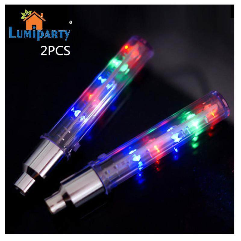 LumiParty 2Pcs LED Lốp Lốp Xe Nắp Chụp Van Bánh Xe Vành Nan Hoa ĐÈN LED Cảnh Báo dành cho Xe Đạp Núi Đường Xe Đạp