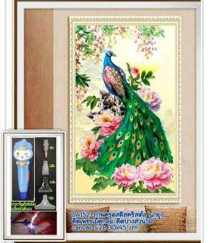 ครอสติช ครอสติส คริสตัล ภาพวาด ติดเพชร เม็ดกลม ติดบางส่วน ของ ภาพ สัตว์ นกยูง มงคล มีของในไทย จัดส่งเร็ว มีเก็บเงินปลายทาง DIY Diamonds painting
