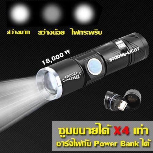 ไฟฉาย Zoomx4 เท่า ไฟฉายแรงสูงซูม 4เท่า ชาร์จไฟง่ายผ่านช่องusb ปรับโหมดได้ 3แบบ ของแท้ รับประกันสินค้า By Pakwan.