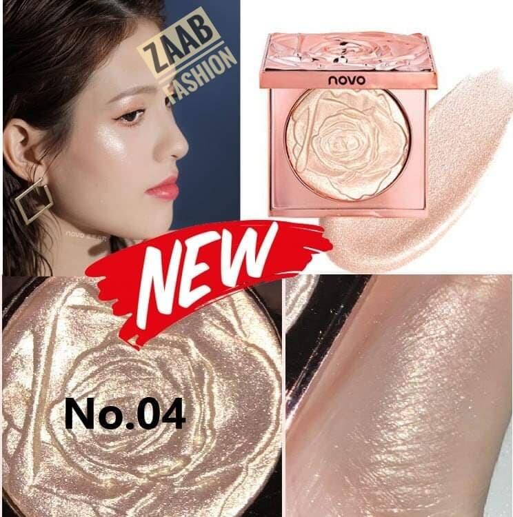 Novo Highlighter High Gloss Powder ของแท้ (zaab Fashion) โนโวไฮไลท์หน้าเงาแบบสาวเกาหลี หน้าฉ่ำ หน้าวาว ชิมเมอร์ Shimmer Glitter พาเลทไฮไลท์สามมิติ ตลับสีทองสวยหรูลายกุหลาย 3 มิติ ติดทน กันน้ำ เฉดดิ้งและไฮไลท์ สันจมูก โหนกแก้ม คาง ขอบตาล่าง โหนกคิ้ว.