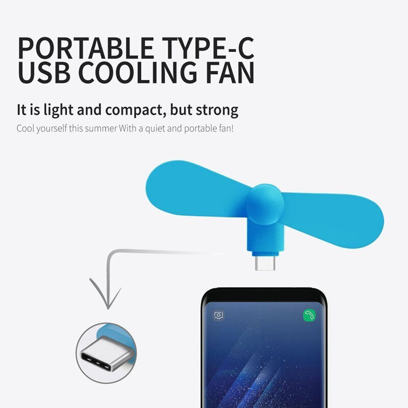 【average】 Type-C พัดลม Usb แบบพกพา โทรศัพท์มือถือมินิพัดลมสำหรับ Android Type C.