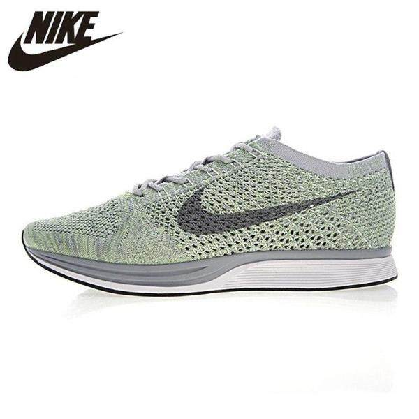 Nice Original NIKE_FLYKNIT_RACER_Mens and Womens Running Shoes  Green White non-slip Wearable Breathable
