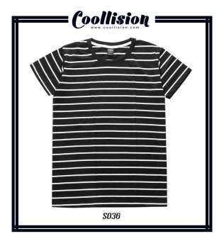 Coollision เสื้อยืดลายทาง ขาวดำ