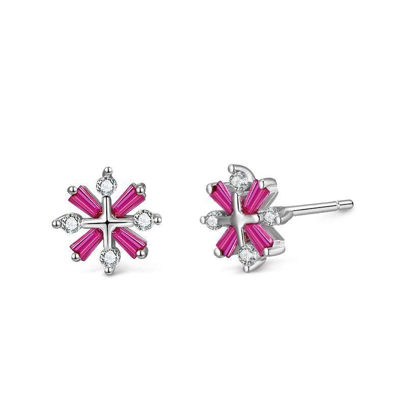 ต่างหูดีไซค์รูปหิมะ หลากสีสรร Simple Design Snowflake 925 Silver Earrings Colorful Candy Series By Loveshe
