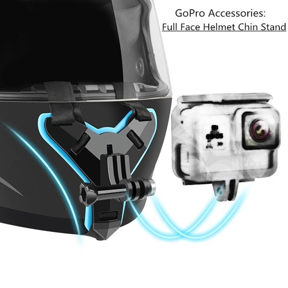 SEJUE4373 Camera Hành Động Cho GoPro Hero 8 6 5 Mũ Bảo Hiểm Chống Sốc Giá Đứng Cằm Mũ Bảo Hiểm Dây Khung Mũ Bảo Hiểm Mũ Bảo Hiểm Gắn Cằm Chủ Máy Ảnh, Xe Máy