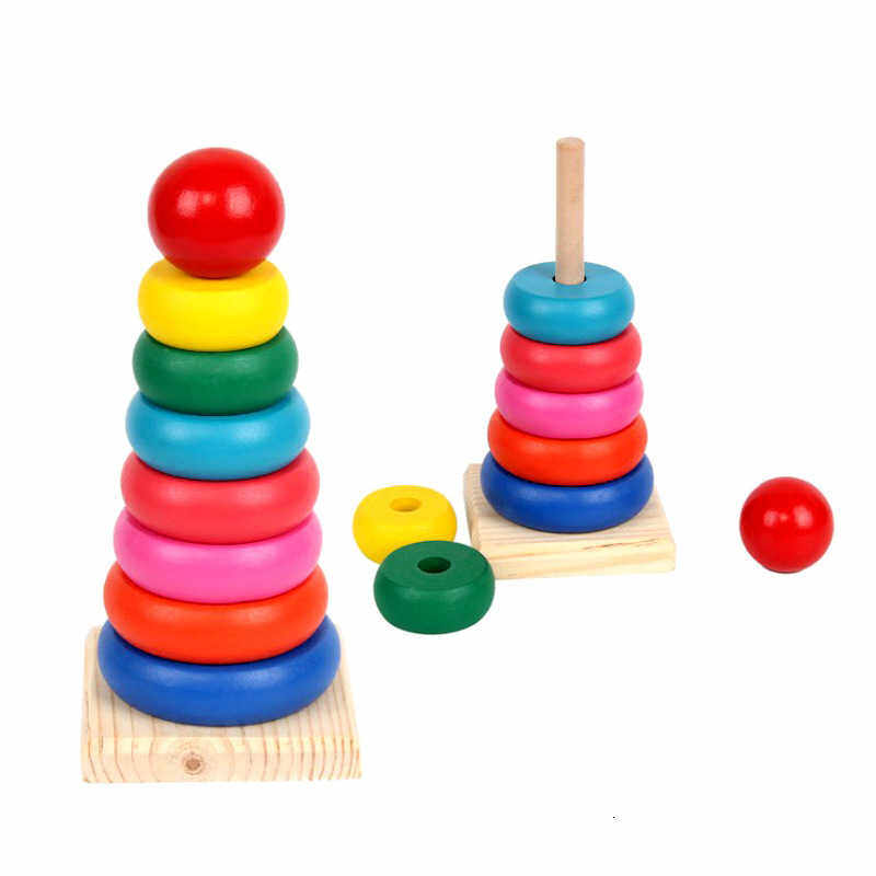 Rainbow Pagoda Set Circle Stack High Children Stack Happy Stack Pagoda Set Column Alpinia Early