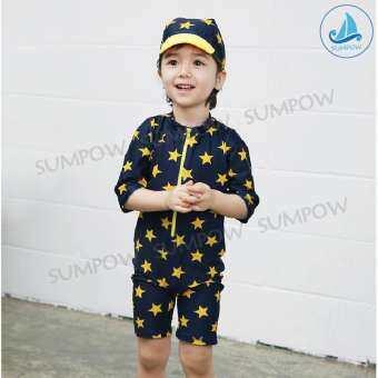 Sumpow ชุดว่ายน้ำ สำหรับเด็ก บอดี้สูท Body Suit ขาสั้น แขนสั้น ลายดาว + หมวก-