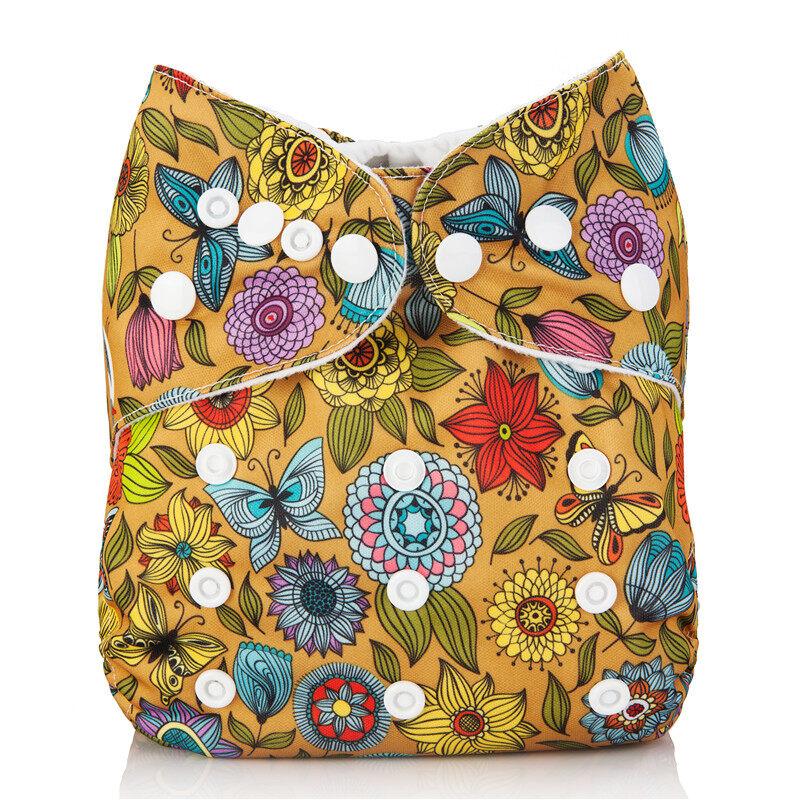 กางเกง ผ้าอ้อม เด็ก แบบซักได้/ กันน้ำ ได้ ฟรี แผ่น ซับ แบมบู 4 ชั้น, ลาย ดอกไม้   Pocket Cloth Diaper/nappy, Waterproof With 4-Layer Bamboo Insert, Flower Design.