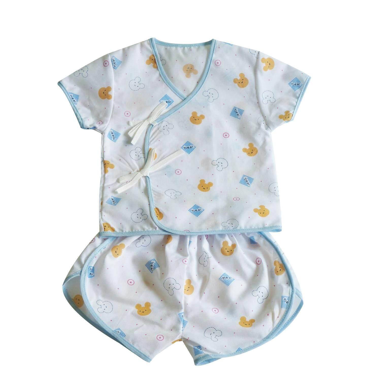 Natty Punn ชุดเสื้อผ้าป่านแบบผูกหน้า พิมพ์ลายกระจาย 0-3 เดือน รุ่น Lucky By Nattypunn.