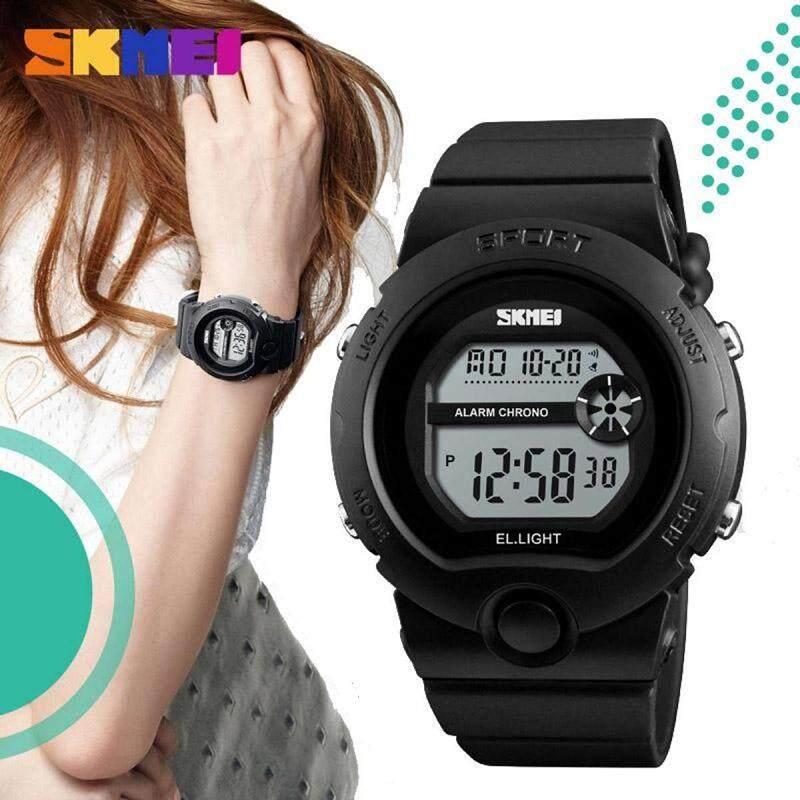 Skmei 1334 (จัดส่งในไทย ของแท้ 100% พร้อมกล่องใบรับประกันครบเซ็ท) นาฬิกาข้อมือผู้หญิง มัลติฟังชั่น สายเรซิน รุ่น Sk-1334.