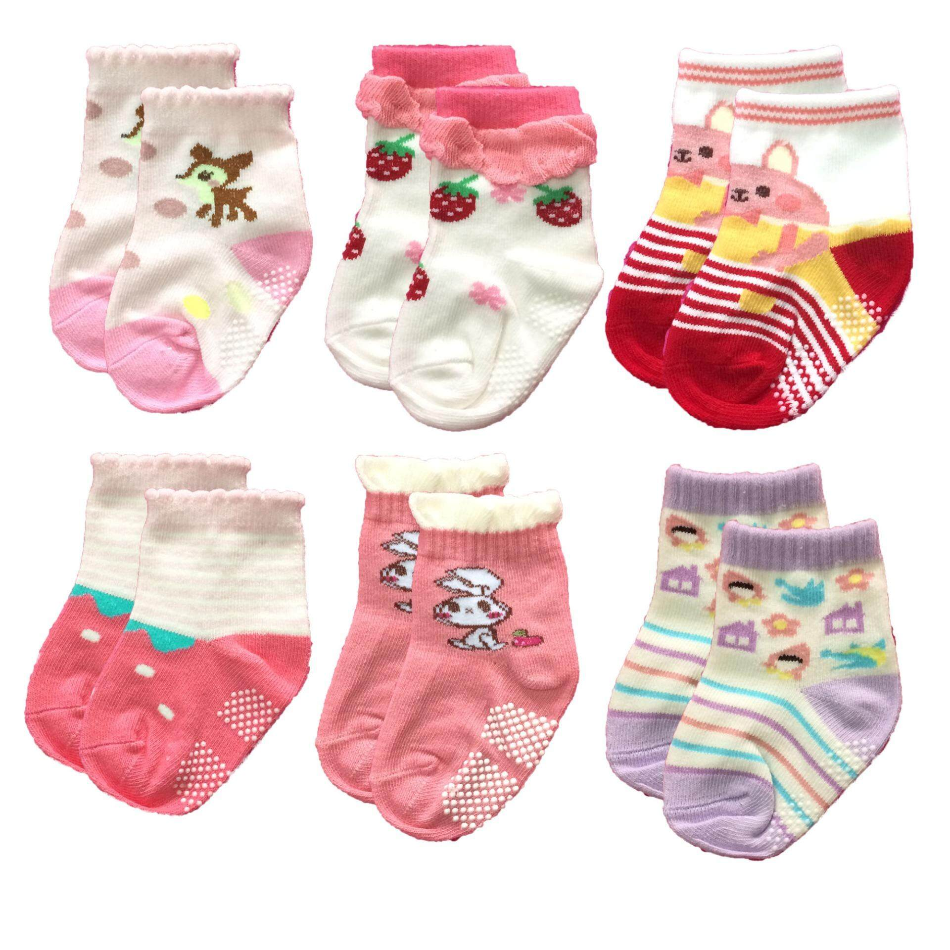 Kamphu ถุงเท้าเด็ก ถุงเท้ากันลื่นเด็ก คละลาย คละสี สำหรับเด็กผู้หญิง อายุ 0-12 เดือน 6 ลาย แพ็ค 6 คู่ By Kamphu.